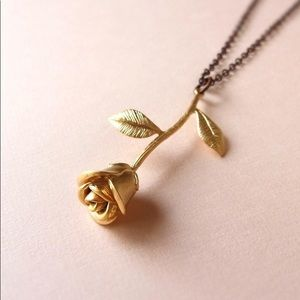 Jewelry - Gold Dainty Rose Hanging Necklace New